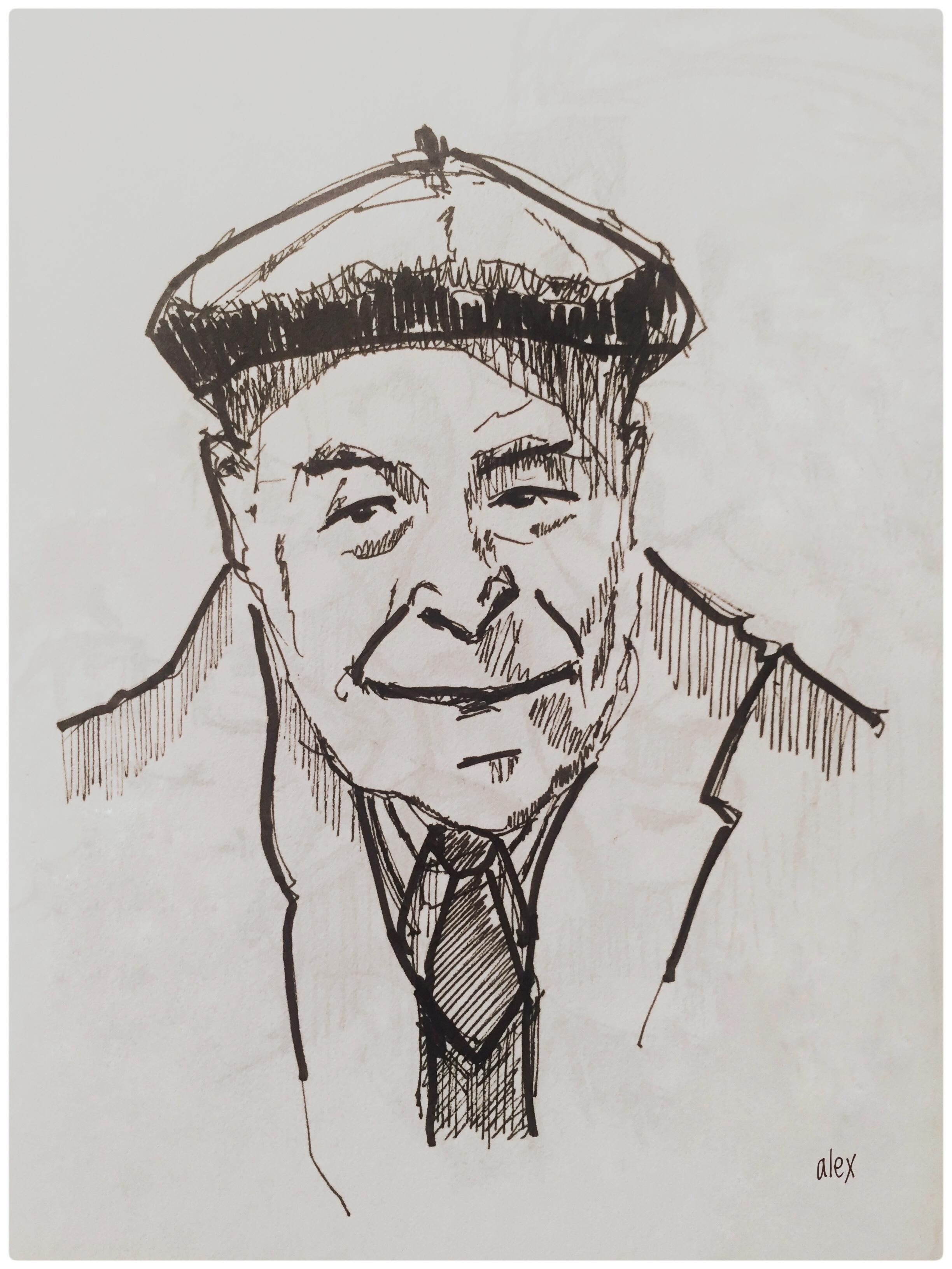 Dibujo con tinta del escritor Josep Pla. Por el autor.